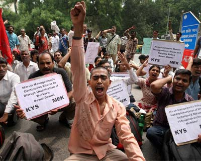 Labour unions protest against Maruti Suzuki management