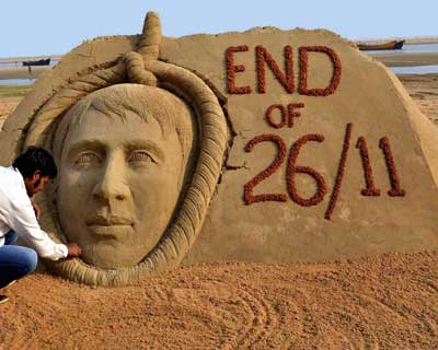 Sand sculpture on Kasab's hanging