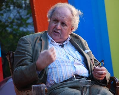 Writer Alexander McCall Smith during his conversation with William Dalrymple.
