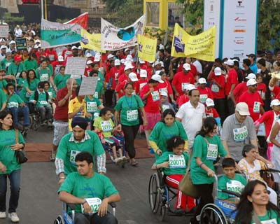 Over 38,000 people from the city, including foreigners, handicapped, senior citizens and students raced their way in different categories in the 42-km event.
