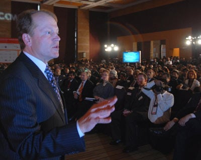 Cisco Chairman and Chief Executive Officer John Chambers interacting with the media during the event