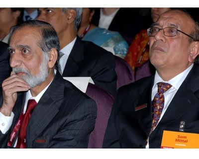 Nasscom former President Kiran Karnik and President Som Mittal at the event