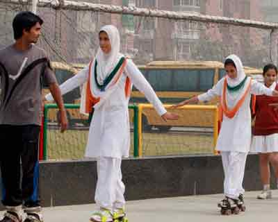 <p>A group of girl students from Kupwara, J&K, learning skating during a visit to G D Goenka School in Dwarka in New Delhi.</p>