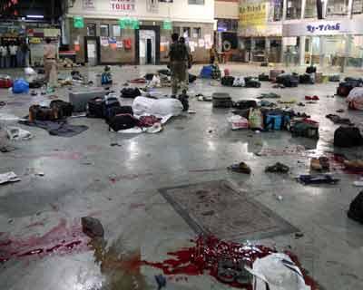 Blood and abandoned luggage at Chatrapati Shivaji Terminus