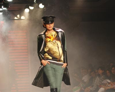 Dressed to kill: a model walks on the ramp in Prashant Verma outfits at the event