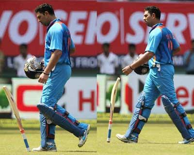 Yuvi walks after losing wicket