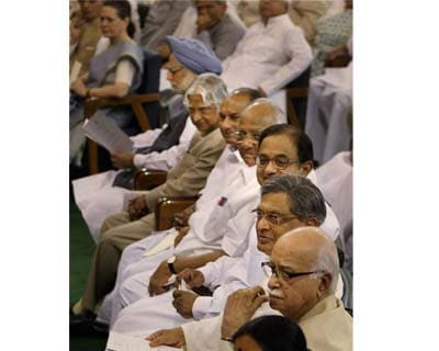 Ministers during President Pranab Mukherjee's swearing-in ceremony