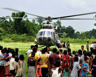 Aid to flood-affected villagers