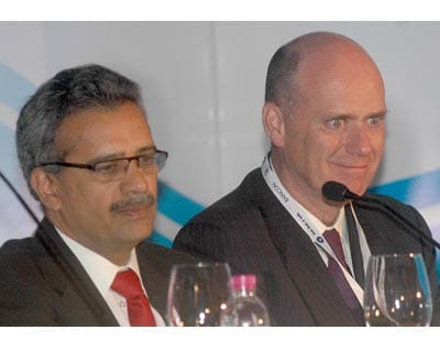 Standard Chartered Bank CEO (India and South Asia) Neeraj Swaroop and Citibank India CEO Mark Robinson at the event