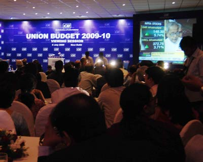 CII delegates getting ready for a relay of the proceedings of Union Budget 2009-10 in New Delhi on Monday