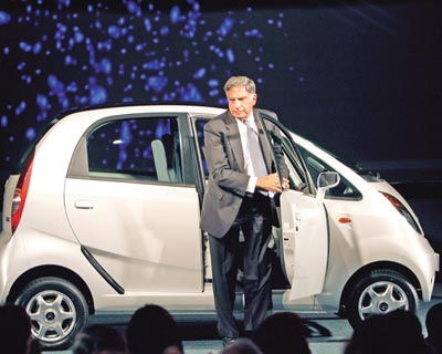 Tata Motors launches the much-awaited Rs 1 lakh car, the Nano, on March 23, 2009. The vehicle is the brainchild of Tata Group Chairman Ratan Tata, who describes it as an eco-friendly people's car.