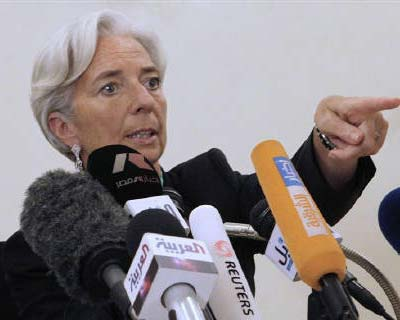 <p><b>French Finance Minister Christine Lagarde talks during a news conference in Cairo</b></p><p>The IMF board on Monday shortlisted French Finance Minister Christine Lagarde and Mexican central bank chief Agustin Carstens for the IMF top job and di