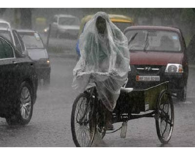 <p><b>A man uses a plastic sheet to guard against a downpour while riding his trishaw in Chandigarh</b></p><p>India's monsoon rains were 26% above normal in the week to August 17, strengthening from a 14% above normal reading in the previous week