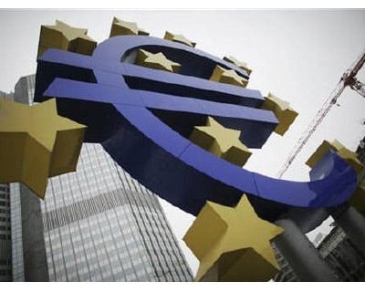 <p><b>A sculpture showing the Euro currency sign is seen in front of the European Central Bank (ECB) headquarters in Frankfurt</b>