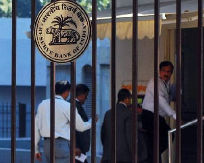 <p><b>The Reserve Bank of India (RBI) logo is pictured outside its head office in Mumbai</b> 