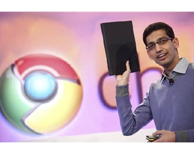 <p><b>Sundar Pichai, vice president of product management for Google, holds a netbook that runs the company&#39;s Chrome OS during the company&#39;s event in San Francisco </b>