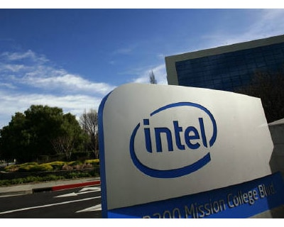 <p><b>A sign is shown at the entrance to the headquarters of Intel Corporation in Santa Clara, California </b>