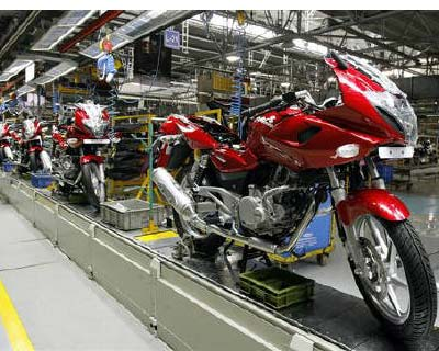 <p>Newly built motorbikes are seen at the Bajaj Auto plant in Pune, about 130 km (82 miles) from Mumbai</p><p><b>Bajaj Auto May vehicle sales growth in May 2011 compared to May 2010:</b></p><p>Total Sales grew 20% to 358,849 units from 299,442 units<