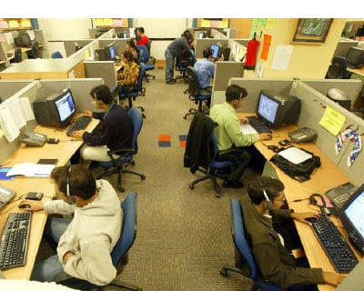 <p><b>Engineers attend to calls from abroad at a call centre in Gurgaon on the outskirts of New Delhi</b> </p><p> India&#39;s services sector expanded in February at its fastest pace in seven months, helped by a steady expansion of new business, ev