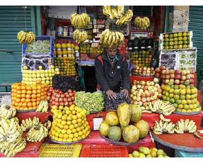 <p><b>A fruit seller arranges fruits inside his shop at a market in Srinagar</b></p><p>India&#39;s food price index rose 8.53% and the fuel price index climbed 13.53% in the year to April 23, government data on Thursday showed.</p><p>In the previous