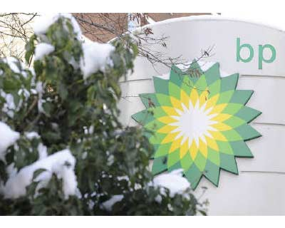 <p><b>A BP (British Petroleum) logo is seen at a petrol station in central London</b>
