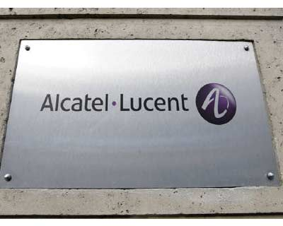 <p><b>The logo of Alcatel-Lucent is pictured at the entrance of its Paris headquarters</b>