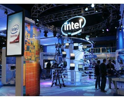 <p><b>Workers prepare an Intel booth for the Consumer Electronics Show (CES) in Las Vegas, Nevada</b>