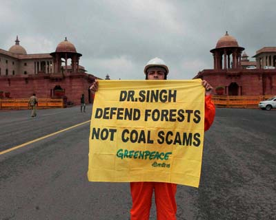Greenpeace activists protest coal scam