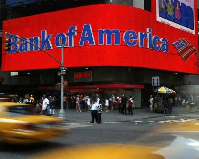 <p><b>A Bank of America advertisement is seen outside one of its branches in New York</b>