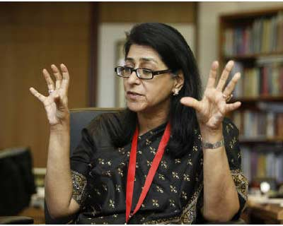 <p><b>Naina Lal Kidwai, HSBC country head for India, speaks during an interview with Reuters in Mumbai</b>