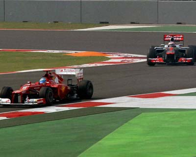 F1 drivers during first practice session in Greater Noida