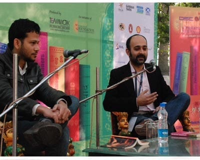 <p>Mohsin Hamid(right) in conversation with Chandrahas Choudhury on the topic &#39;The Reluctant Fundamentalist&#39; at the last day of the Jaipur Literature Festival 2011</p>