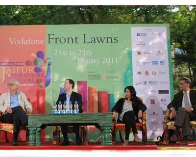 <p>(From left:) John Makinson, Patrick French, Kiran Desai, Sunil Sethi at the Jaipur Literature Festival on the second day of the fest.</p>