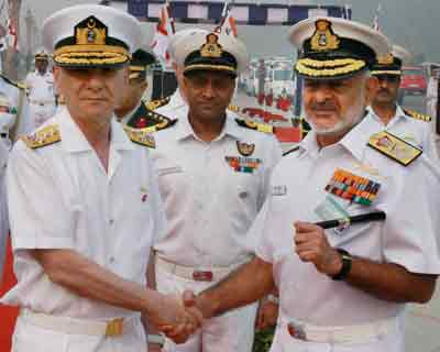 Turkish Naval Commander with Admiral D K Joshi