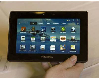 <p><b>A prototype of RIM&#39;s BlackBerry PlayBook, a seven-inch tablet, shown at the 2011 International Consumer Electronics Show (CES) in Las Vegas</b>