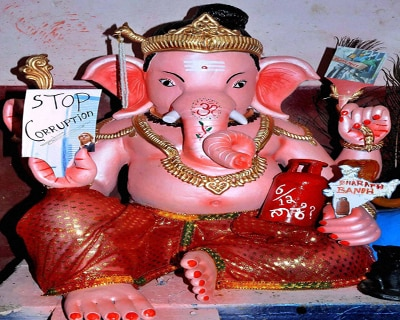 Lord Ganesha protesting against corruption