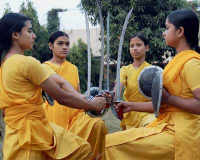 Girls take lessons in self-defence