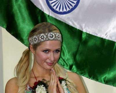 Paris Hilton at a visit to an orphanage in Mumbai