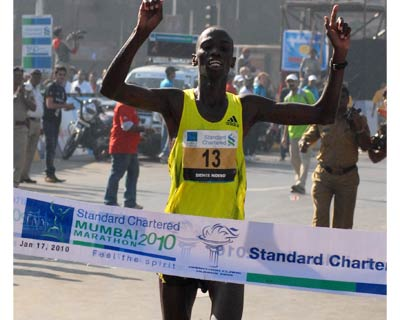 Kenyan sprinter Dennis Ndisso outran the competition in the 42-km event. Ndisso completed the marathon in 2 hours, 12 minutes and 34 seconds to bag the title