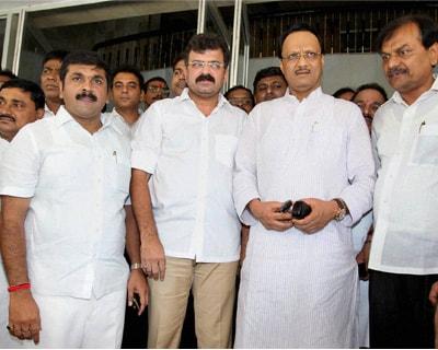 Ajit Pawar's meeting with NCP MLAs at Vidhan Bhavan