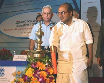 Defence Minister A K Antony lighting the ceremonial lamp to mark the opening of Aero-India 2009 International Seminar, in Bangalore
