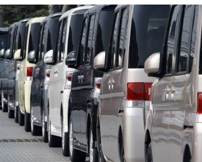 <P><B>New Daihatsu cars are parked at an industrial port in Kawasaki, near Tokyo.</B>