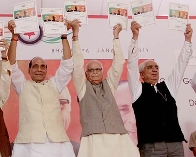 <b>BJP releases manifesto</b> <P> BJP releases manifesto for the upcoming Lok Sabha elections, and revives its pet Hindutva themes of rebuilding Ram temple at Ayodhya and abrogation of Article 370 giving special status to Jammu and Kashmir. Its man