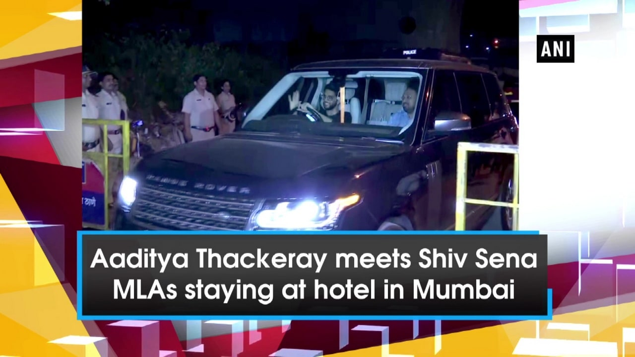 Aaditya Thackeray meets Shiv Sena MLAs staying at hotel in Mumbai
