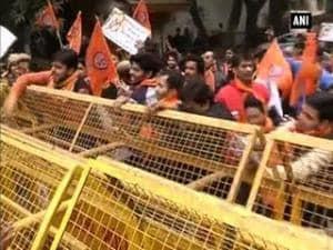 Bajrang Dal activists protest outside Banga Bhawan over Malda incident