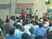 Cab drivers protest against AAP Govt. at Jantar Mantar
