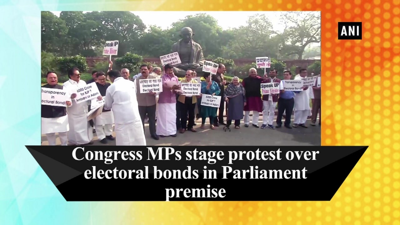 Congress MPs stage protest over electoral bonds in Parliament premise