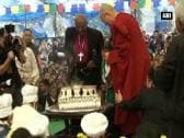 Dalai Lama pre-celebrates his birthday with archbishop Tutu in Dharamsala