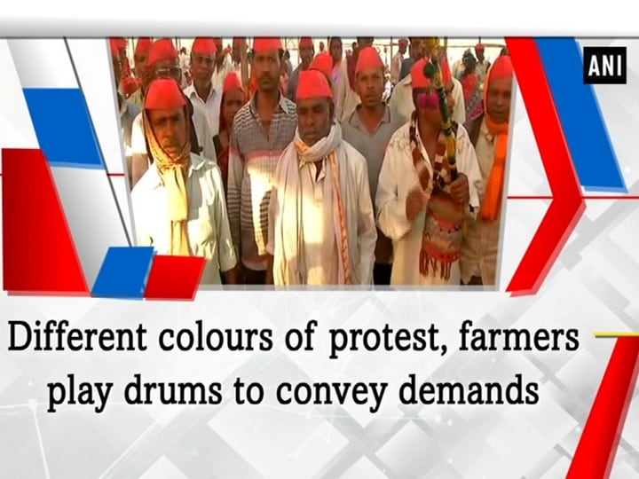 Different colours of protest, farmers play drums to convey demands