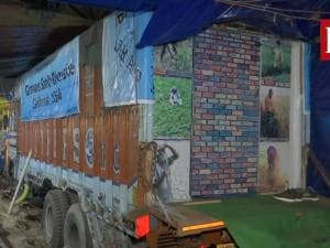 Farm stir: Truck turned into makeshift home with sofa, TV and a toilet too!